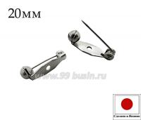 Основа для броши с поворотным механизмом 20 мм, цвет никель, 1 отверстие, ЯПОНИЯ 061879 - 99 бусин