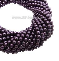 Бусина стеклянная жемчуг на нити 3 мм цвет фиолетовый Чехия 75 штук 061886 - 99 бусин
