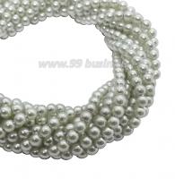 Бусина стеклянная жемчуг на нити 3 мм цвет бледно-оливковая дымка Чехия 75 штук 061888 - 99 бусин