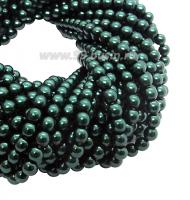 Бусина стеклянная жемчуг на нити 3 мм цвет изумрудный Чехия 75 штук 061891 - 99 бусин