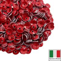Пайетки Италия лаковые ЧАША 4 мм цвет Rosso (алый) 3 грамма 061900 - 99 бусин