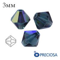 Биконусы хрустальные Preciosa 3 мм Montana AB 20 штук/упаковка 061937 - 99 бусин
