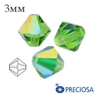 Биконусы хрустальные Preciosa 3 мм Peridot AB 20 штук/упаковка 061939 - 99 бусин