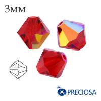 Биконусы хрустальные Preciosa 3 мм Light Siam AB 20 штук/упаковка 061940 - 99 бусин