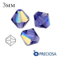 Биконусы хрустальные Preciosa 3 мм Tanzanite AB 20 штук/упаковка 061942 - 99 бусин