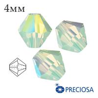Биконусы хрустальные Preciosa 4 мм Chrysolite Opal AB 20 штук/упаковка 061943 - 99 бусин