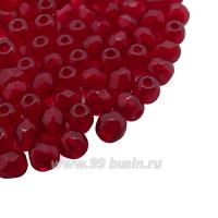 Бусины стеклянные граненые 3 мм Винтаж Чехия цвет тёмно-красный 40 шт/упаковка 061953 - 99 бусин