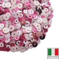 Микс пайеток САЛЕРНО (Плоские 3 мм 396W, Rosa лаковые, 4 мм 3394, 0562, 3071) розовые оттенки, Италия 3 грамма 061971 - 99 бусин