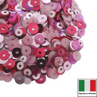 Микс пайеток МЕССИНА (Плоские 3 мм Rosa лаковые 4 мм 5511, 3394, 3821, 0132) розовые оттенки, Италия 3 грамма 061972 - 99 бусин