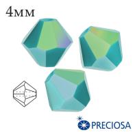 Биконусы хрустальные Preciosa 4 мм Turquoise AB 20 штук/упаковка 061984 - 99 бусин