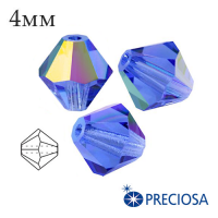 Биконусы хрустальные Preciosa 4 мм Sapphire AB 20 штук/упаковка 061986 - 99 бусин