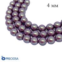 Жемчуг хрустальный Preciosa Maxima 4 мм Pearlescent Violet 10 штук/упаковка Чехия 061987 - 99 бусин