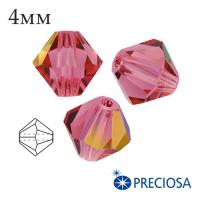 Биконусы хрустальные Preciosa 4 мм Indian Pink 20 штук/упаковка 062008 - 99 бусин