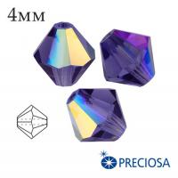 Биконусы хрустальные Preciosa 4 мм DeepTanzanite AB 20 штук/упаковка 062012 - 99 бусин