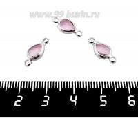 """Коннектор Премиум Капелька 14,5*7 мм ювелирное стекло, цвет розовой/платина огранка """"брайолет"""" 1 штука 062015 - 99 бусин"""