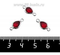 Коннектор Премиум Капелька 14,5*7 мм ювелирное стекло, цвет тесно-красный/платина 1 штука 062017 - 99 бусин