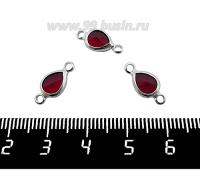 Коннектор Премиум Капелька 14,5*7 мм ювелирное стекло, цвет рубиновый/платина 1 штука 062018 - 99 бусин