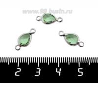 Коннектор Премиум Капелька 14,5*7 мм ювелирное стекло, цвет нежно-зеленый/платина 1 штука 062022 - 99 бусин