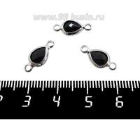 Коннектор Премиум Капелька 14,5*7 мм ювелирное стекло, цвет черный/платина 1 штука 062024 - 99 бусин