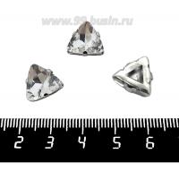 Стразы стеклянные пришивные в латунных цапах Треугольник 12*12*5 мм, цвет бесцветный прозрачный, 1 штука 062030 - 99 бусин
