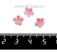 Декоративный элемент Цветочек пришивной, из полимерной глины, цвет розовый, размер около 8-9*3-4 мм, ручная работа, 1 штука 062035 - 99 бусин