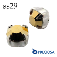Шатоны в оправе PRECIOSA MAXIMA пришивные размер ss29 (6.1-6.3 мм), цвет Aurum/оправа silver, 1 штука, Чехия 062046 - 99 бусин