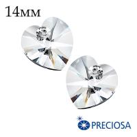 Подвеска хрустальная PRECIOSA Heart/Сердечко 14 мм Crystal 1 штука Чехия 062054 - 99 бусин