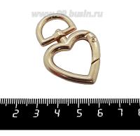 Основа для брелка Карабин Сердце с антизакручивающимся элементом, 47*31 мм, цвет розоватое золото, 1 штука 062080 - 99 бусин