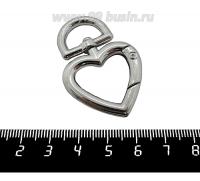 Основа для брелка Карабин Сердце с антизакручивающимся элементом, 47*31 мм, цвет никель, 1 штука 062081 - 99 бусин