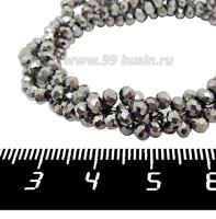 Бусины хрустальные на нити форма Рондель 3,5*2,5 мм цвет мельхиор, около 38 см нить /140 бусин 062088 - 99 бусин