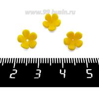 Декоративный элемент Цветочек пришивной, из полимерной глины, цвет желтый, размер около 8-9*3-4 мм, ручная работа, 1 штука 062109 - 99 бусин