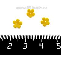 Декоративный элемент Цветочек Малый пришивной, из полимерной глины, цвет желтый, размер около 5-6*2-4 мм, ручная работа, 1 штука 062110 - 99 бусин