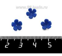 Декоративный элемент Цветочек пришивной, из полимерной глины, цвет синий, размер около 8-9*3-4 мм, ручная работа, 1 штука 062111 - 99 бусин