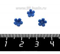 Декоративный элемент Цветочек Малый пришивной, из полимерной глины, цвет синий, размер около 5-6*2-4 мм, ручная работа, 1 штука 062112 - 99 бусин