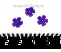 Декоративный элемент Цветочек пришивной, из полимерной глины, цвет фиолетовый, размер около 8-9*3-4 мм, ручная работа, 1 штука 062113 - 99 бусин