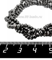 Бусины хрустальные на нити форма Рондель 3*2 мм цвет гематит, около 44 см нить /170 бусин 062132 - 99 бусин