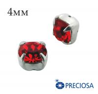 Шатоны (стразы) PRECIOSA пришивные хрустальные, размер ss-16 (4 мм), цвет Light Siam/silver, 10 штук/упаковка, Чехия 062137 - 99 бусин