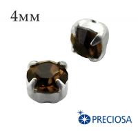 Шатоны (стразы) PRECIOSA пришивные хрустальные, размер ss-16 (4 мм), цвет Smoked Topaz/silver, 10 штук/упаковка, Чехия 062138 - 99 бусин