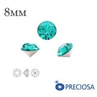 Шатоны PRECIOSA MAXIMA ss39 (8мм) Blue Zircon без оправы 1 штука, Чехия 062143 - 99 бусин