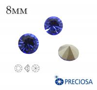 Шатоны PRECIOSA MAXIMA ss39 (8мм) Sapphire без оправы 1 штука, Чехия 062146 - 99 бусин