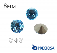 Шатоны PRECIOSA MAXIMA ss39 (8мм) Aquamarine без оправы 1 штука, Чехия 062147 - 99 бусин