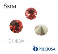 Шатоны PRECIOSA MAXIMA ss39 (8мм) Padparadscha без оправы 1 штука, Чехия 062151 - 99 бусин