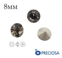 Шатоны PRECIOSA MAXIMA ss39 (8мм) Black Diamond без оправы 1 штука, Чехия 062160 - 99 бусин