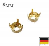 Оправа ss39 (8мм) Light Gold (plated) 4 отверстия 1 штука Германия 062162 - 99 бусин