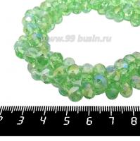 Бусина стеклянная на нитке мелкая грань 8*6 мм цвет зеленый/радужный около 40 см/нить 062186 - 99 бусин