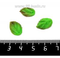 Декоративный элемент Листочек пришивной, из полимерной глины, цвет зеленый, размер около 15-17*10-11 мм, ручная работа, 1 штука 062191 - 99 бусин