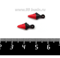 Декоративный элемент Клюв Лебедь (левый) пришивной, из полимерной глины, цвет красный/черный, размер около 14-15*6-7 мм, ручная работа, 1 штука 062196 - 99 бусин