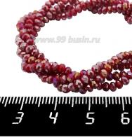 Бусины хрустальные на нити форма Рондель 3*2 мм непрозрачный темно-красный/радужный, около 40 см нить /180 бусин 062200 - 99 бусин