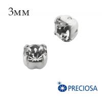 Шатоны (стразы) PRECIOSA Maxima пришивные хрустальные, размер ss-12 (3 мм), цвет Crystal/silver, 10 штук/упаковка, Чехия 062205 - 99 бусин