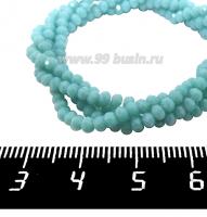Бусины хрустальные на нити форма Рондель 3*2 мм цвет непрозрачный атлантик, около 40 см нить /140 бусин 062212 - 99 бусин